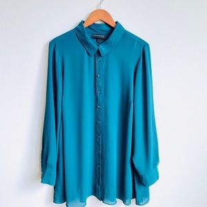 LANE BRYANT SHEER TEAL LONG SLEEVE BUTTON DOWN TOP